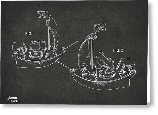 Pirate Ship Greeting Cards - Pirate Ship Patent Artwork - Gray Greeting Card by Nikki Marie Smith