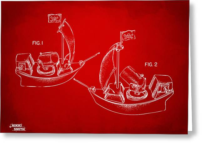 Pirate Ship Digital Greeting Cards - Pirate Ship Patent Artwork - Red Greeting Card by Nikki Marie Smith