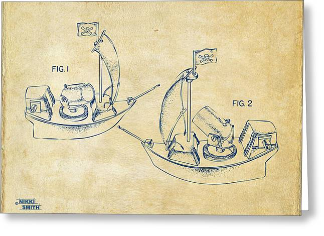 Pirate Ship Patent Artwork - Vintage Greeting Card by Nikki Marie Smith