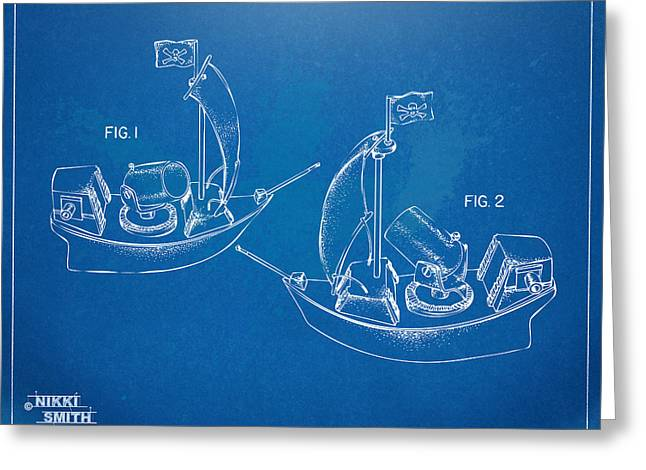 Pirate Ship Digital Greeting Cards - Pirate Ship Patent - Blueprint Greeting Card by Nikki Marie Smith