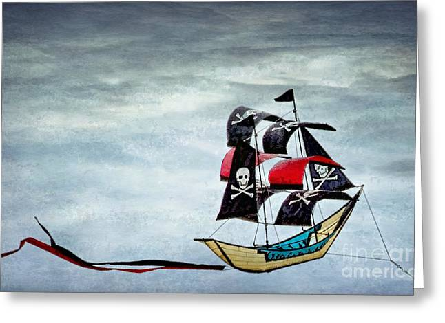 Kite Greeting Cards - Pirate Ship Greeting Card by Peggy J Hughes