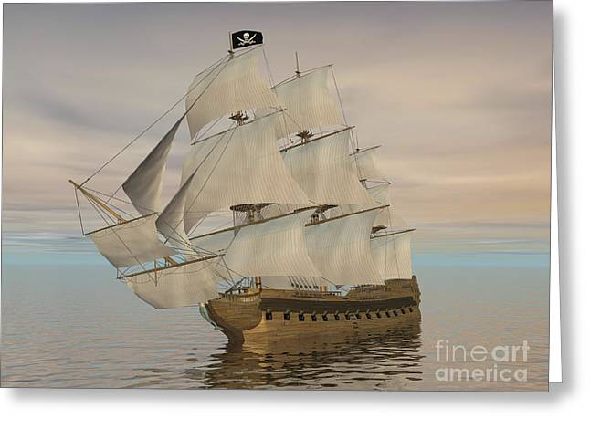 Historic Schooner Digital Greeting Cards - Pirate Ship With Black Jolly Roger Flag Greeting Card by Elena Duvernay