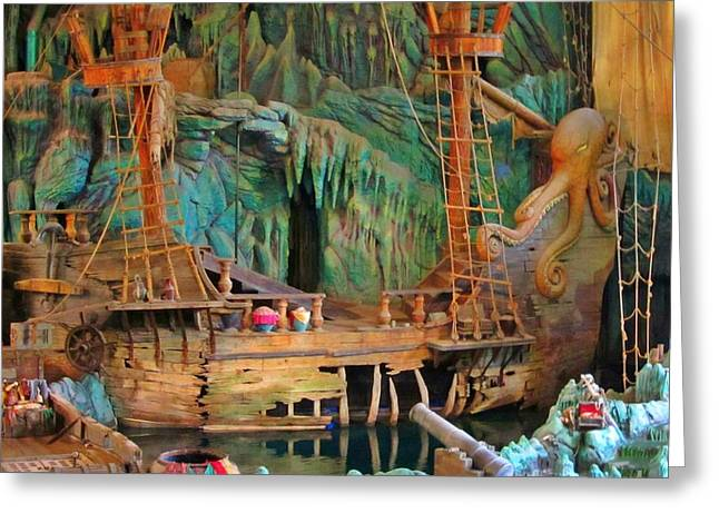 Water In Caves Greeting Cards - Pirate Ship Wreak Greeting Card by John Malone