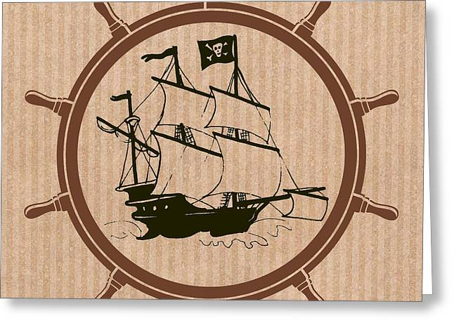 Pirate Ship Mixed Media Greeting Cards - Pirate Ships Wheel Greeting Card by Mindy Bench