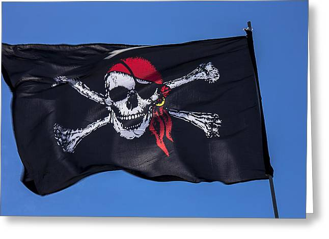 Black Scarf Greeting Cards - Pirate skull flag with red scarf Greeting Card by Garry Gay