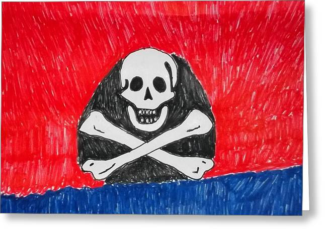 Pirate Ship Mixed Media Greeting Cards - Pirate Symbol Mix Media On Paper Greeting Card by William Sahir House