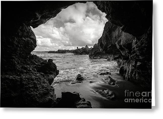 Pa Greeting Cards - Pirate Treasure Cave Pailoa Beach Greeting Card by Edward Fielding