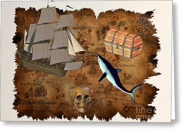 Coin Pictures Greeting Cards - Pirate Treasure Greeting Card by Corey Ford
