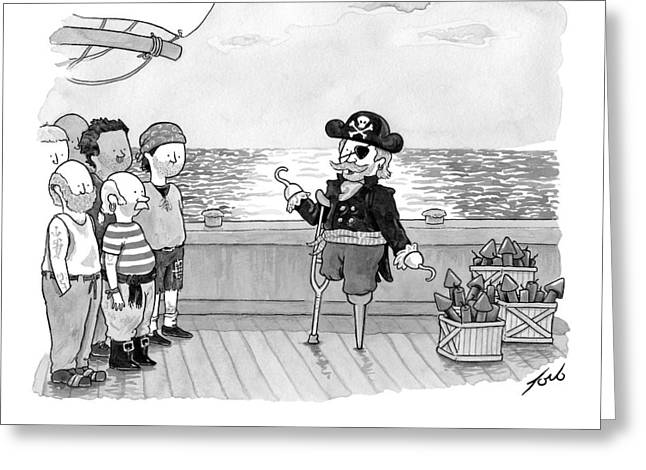 Pirate With One Hand Asks For Help Lighting Greeting Card by Tom Toro