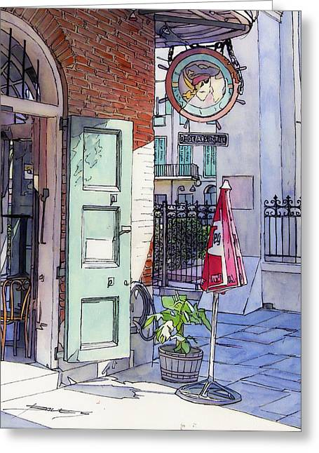 Streetlamp Drawings Greeting Cards - Pirates Alley 161 Greeting Card by John Boles