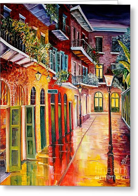 Pirates Paintings Greeting Cards - Pirates Alley by Night Greeting Card by Diane Millsap