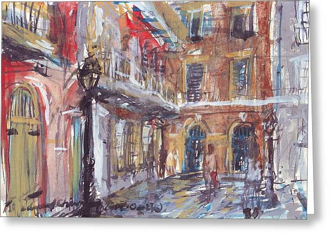 Cajun Drawings Greeting Cards - Pirates Alley Greeting Card by Edward Ching