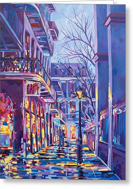 Pirates Paintings Greeting Cards - Pirates Alley Greeting Card by Elaine Adel Cummins