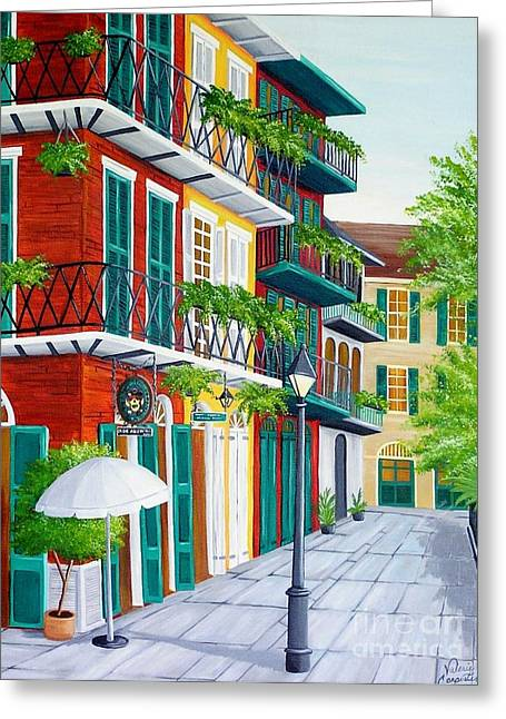 Streetlight Paintings Greeting Cards - Pirates Alley Greeting Card by Valerie Carpenter