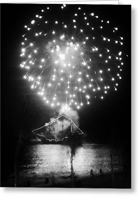 Pirate Ship Digital Greeting Cards - Pirates and Fireworks Greeting Card by Natasha Marco