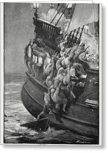 Pirates Boarding A Ship Greeting Card by British Library