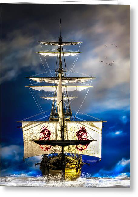 Pirate Ship Digital Greeting Cards - Pirates Greeting Card by Bob Orsillo
