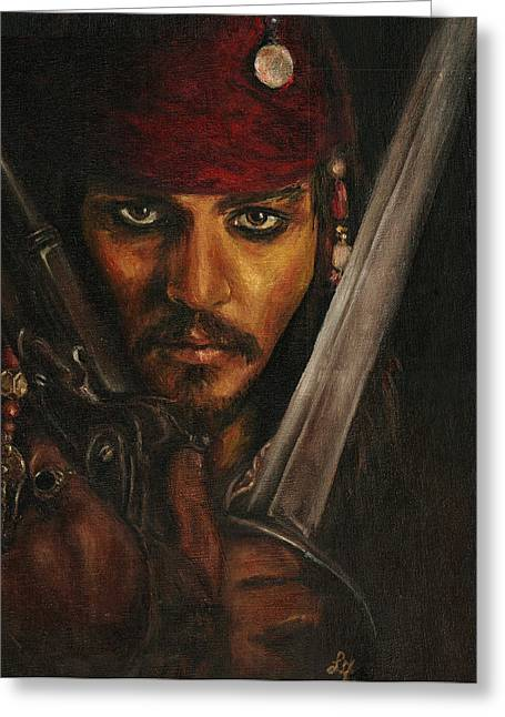 Captain Jack Sparrow Art Greeting Cards - Pirates- Captain Jack Sparrow Greeting Card by Lina Zolotushko