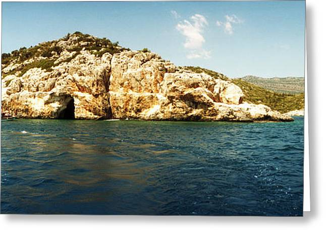The Edge Greeting Cards - Pirates Cave In The Mediterranean Sea Greeting Card by Panoramic Images