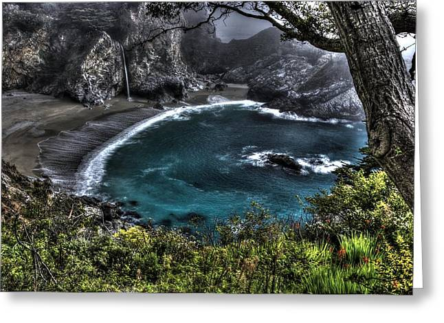 Big Sur Ca Greeting Cards - Pirates Cove in Waiting - Mc Way Falls Julia Pfeiffer State Park - Big Sur Central California Coast Greeting Card by Michael Mazaika