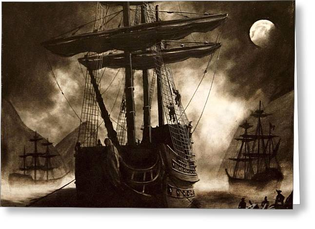 Pirate Ships Drawings Greeting Cards - Pirates cove Greeting Card by Jared  Stone