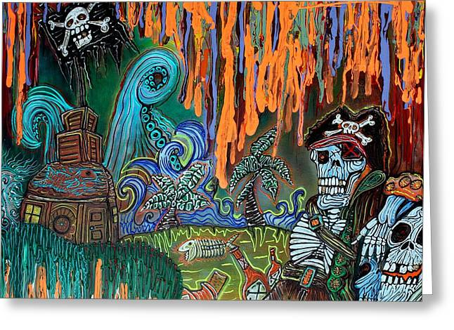 Pirates Paintings Greeting Cards - Pirates Cove Greeting Card by Laura Barbosa