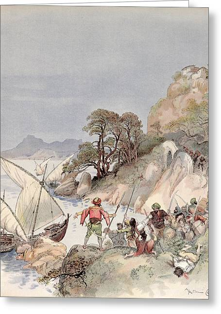 Terrorist Greeting Cards - Pirates from the Barbary Coast Capturin gslaves on the Mediterranean Coast Greeting Card by Albert Robida