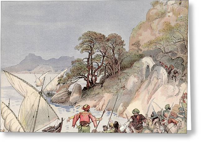 Pirates from the Barbary Coast Capturin gslaves on the Mediterranean Coast Greeting Card by Albert Robida