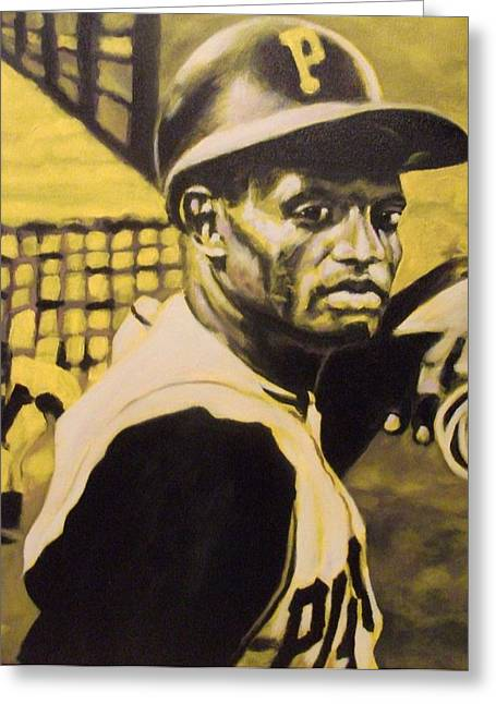 Roberto Clemente Paintings Greeting Cards - Pirates Gold Greeting Card by Paul Smutylo