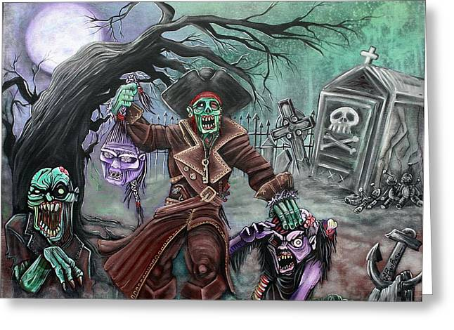 Pirates Paintings Greeting Cards - Pirates Graveyard 2 Greeting Card by Laura Barbosa