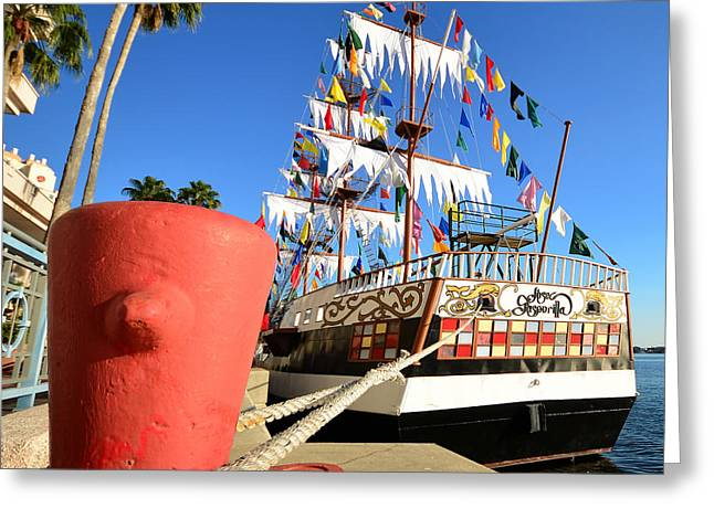Pirates Greeting Cards - Pirates in harbor Greeting Card by David Lee Thompson