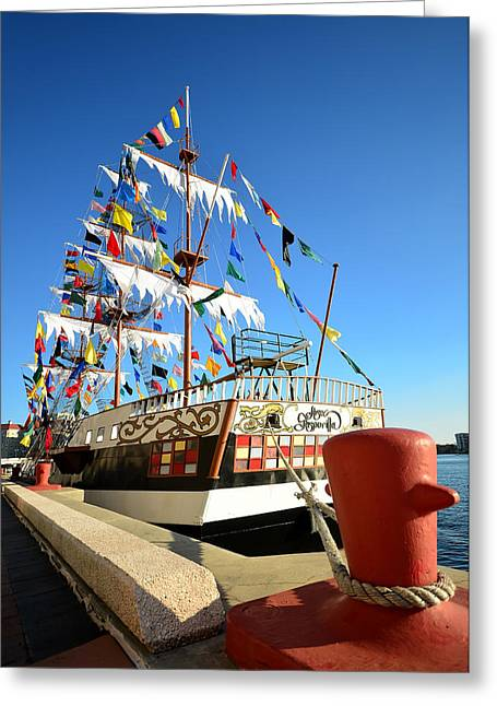 Famous Pirate Greeting Cards - Pirates in harbor work two Greeting Card by David Lee Thompson