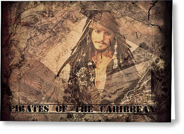 Captain Jack Sparrow Art Greeting Cards - Pirates of the Caribbean Greeting Card by Absinthe Art By Michelle LeAnn Scott