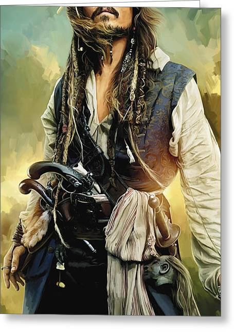 Johnny Depp Poster Greeting Cards - Pirates of the Caribbean Johnny Depp Artwork 1 Greeting Card by Sheraz A
