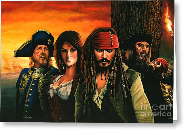 Chest Paintings Greeting Cards - Pirates of the caribbean  Greeting Card by Paul  Meijering