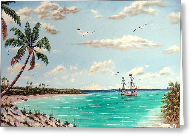 Nature Study Mixed Media Greeting Cards - Pirates On Pavilion Key Greeting Card by Riley Geddings