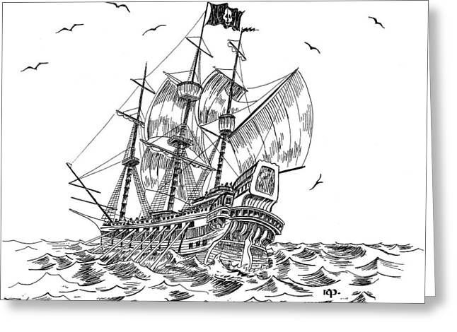 Pirate Ships Drawings Greeting Cards - Pirates Greeting Card by Robert A Powell