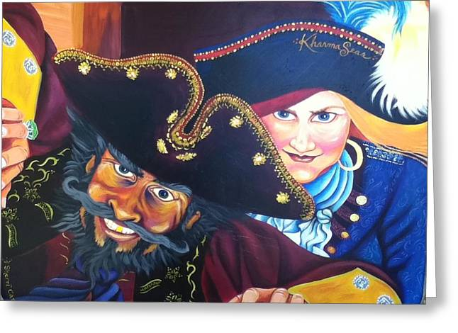 Buccaneer Paintings Greeting Cards - Pirates Greeting Card by Sherri Carroll