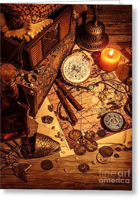 Shiny Necklace Greeting Cards - Pirates treasure still life Greeting Card by Anna Omelchenko
