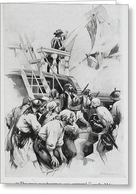 Pirates Waiting To Board A Ship Greeting Card by British Library