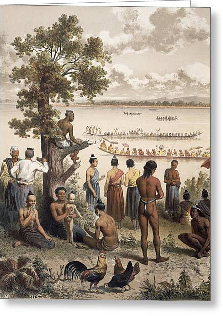 Pirogue Races On The Bassac River Greeting Card by Louis Delaporte