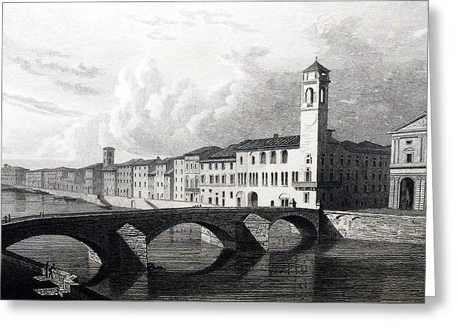 Famous Bridge Drawings Greeting Cards - Pisa Greeting Card by Elizabeth F Batty