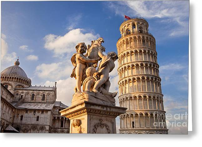 Tuscan Sunset Photographs Greeting Cards - Pisas Leaning Tower Greeting Card by Brian Jannsen