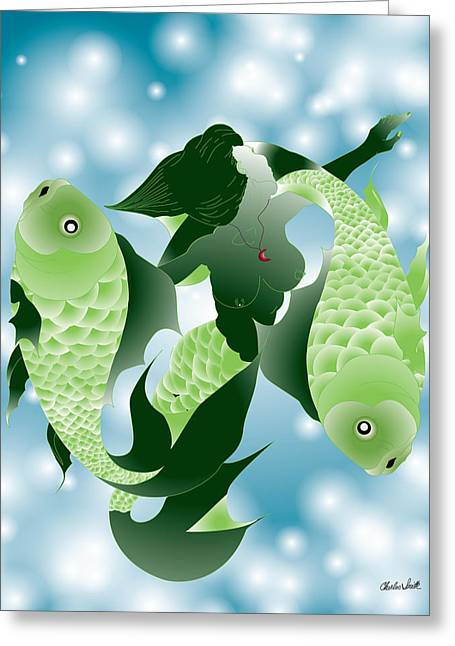 Beat It Digital Art Greeting Cards - Pisces Greeting Card by Charles Smith