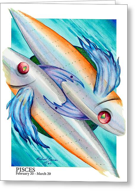 Signs Of The Zodiac Paintings Greeting Cards - Pisces Greeting Card by Michael Baum