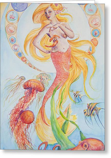 Shell Sign Paintings Greeting Cards - Pisces Greeting Card by Sarah Job