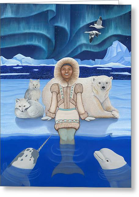 Snow Geese Paintings Greeting Cards - Pisces / Sedna Greeting Card by Karen MacKenzie