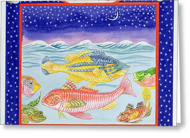 March Greeting Cards - Pisces Wc On Paper Greeting Card by Catherine Bradbury