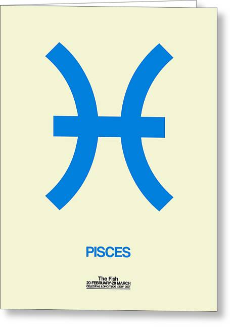 Pisces Zodiac Sign Blue Greeting Card by Naxart Studio