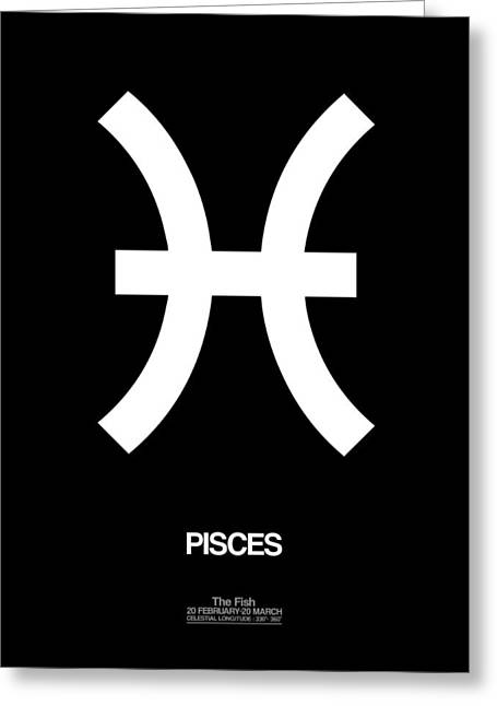 Signed Digital Art Greeting Cards - Pisces Zodiac Sign White and Black Greeting Card by Naxart Studio